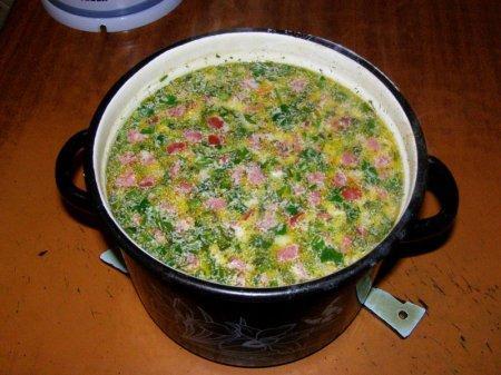 Горячий сырный суп с колбасой (ФОТО рецепт)