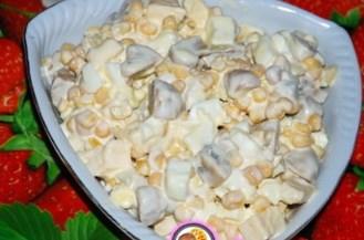 Рецепт салата с шампиньонами и кукурузой