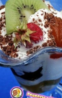 Новогодний рецепт сливок с фруктами