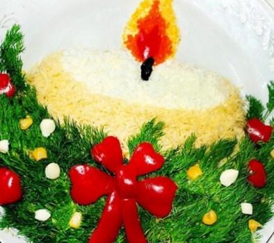 """Рождественский рецепт салата """"Рождественская свеча"""""""