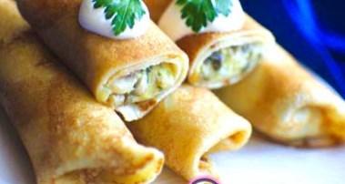 Рецепт блинчиков с начинкой из картофеля и грибов - рецепт блинов на Масленицу
