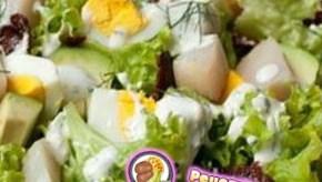 Рецепт рыбного салата с горохом