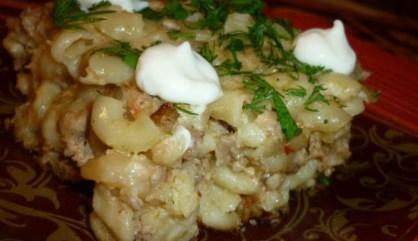 Рецепт запеканки из макарон с фаршем, творогом и сметаной