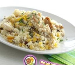 Рецепт салата из курицы с кускусом и овощами