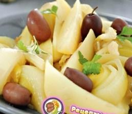 Рецепт салата из лука-порея с оливками