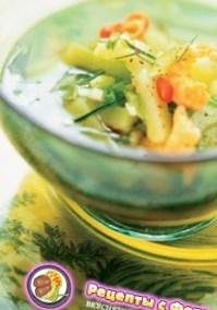 Рецепт тайского бульона с креветками и огурцом