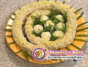 Рецепт - Новогодний салат Змея в гнезде