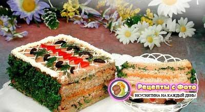 Новогодний рецепт - Бутербродный торт «Праздничный»