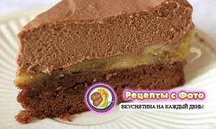 Рецепт шоколадного торта с муссом из белого и темного шоколада