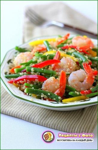 Рецепт - Салат с креветками и фасолью