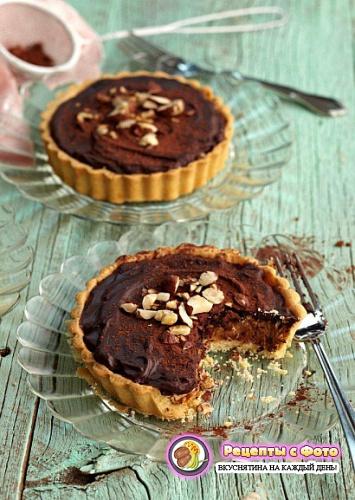 Рецепт шоколадно – карамельных тарталеток  фундуком