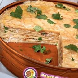 Рецепт - Блинчатый пирог с копченой рыбой