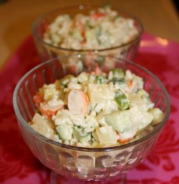 Салат из морепродуктов с грибами