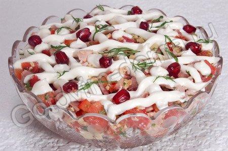 рецепты салатов с копченым окорочком и фасолью