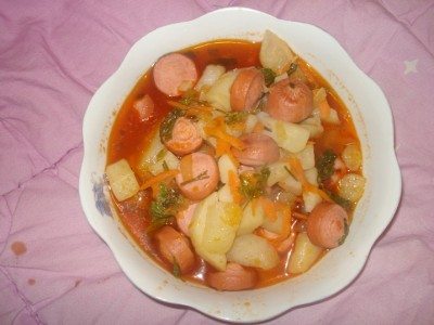 Подлив с сосисками рецепт пошаговый