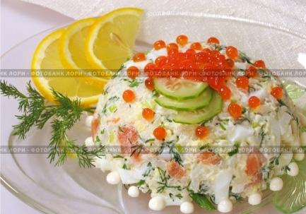 Салат из красной рыбы красной икры