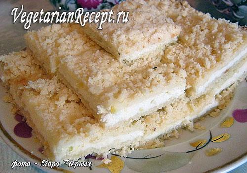 Рецепт пирога из творога и печенья