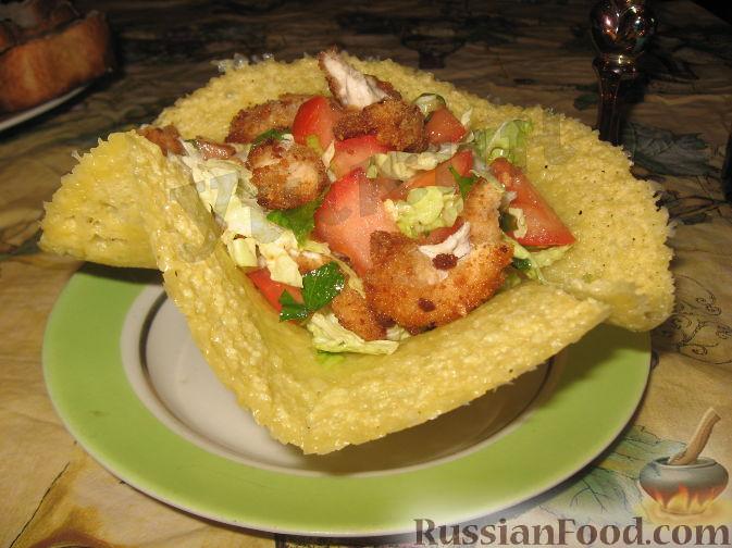 рецепт салата с помидорами и курицей и чесноком