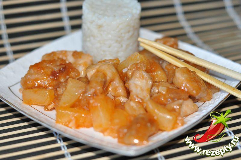 Кисло сладкий соус с ананасами и курицей