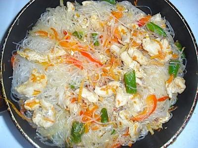рецепты вок рисовая лапша с курицей