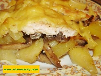 картофель с грибами и курицей в духовке рецепты