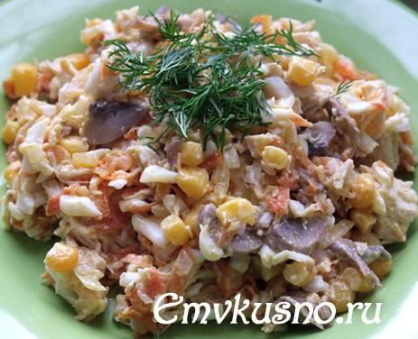 Салат с грибами и курицей без майонеза