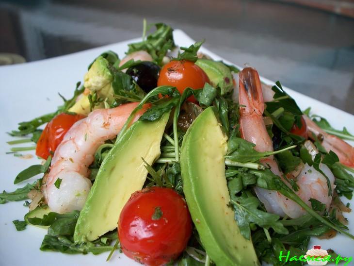 Салат с маринованными креветками рецепт с