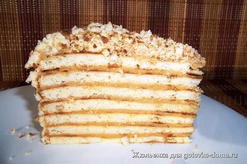 рецепты печеночного торта без молока
