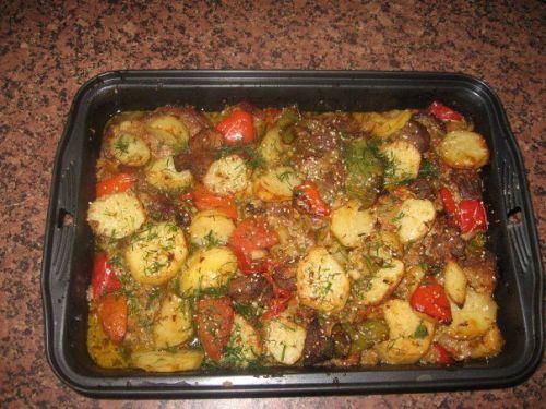 мясо с картошкой в духовке рецепт с фото с овощами