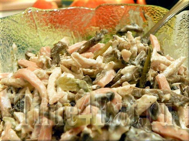 Салат с грибами ветчиной и солеными огурцами рецепт с