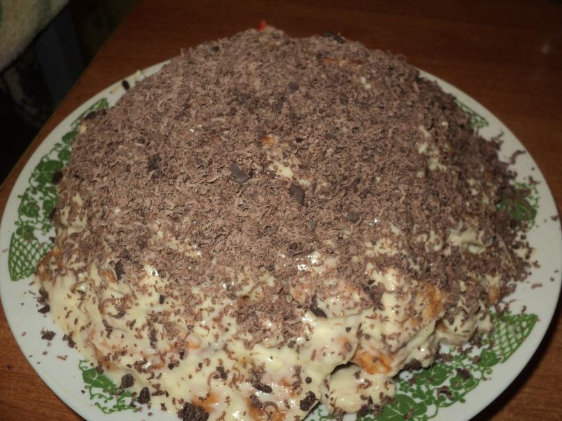 торт с печеньем рыбки со сметаной и бананами рецепт с фото