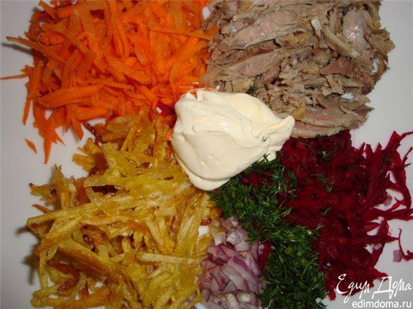 Салаты из говядины и картошки рецепты с