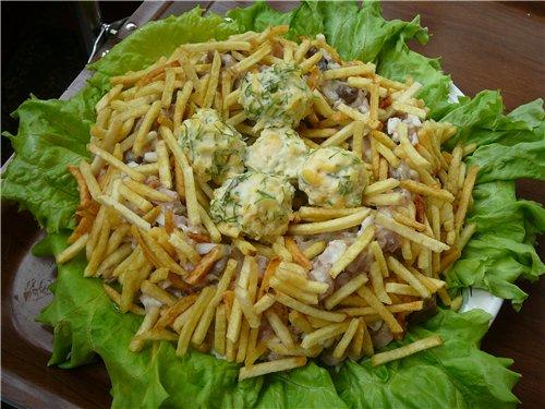 салаты с картошкой и колбасой рецепты с фото