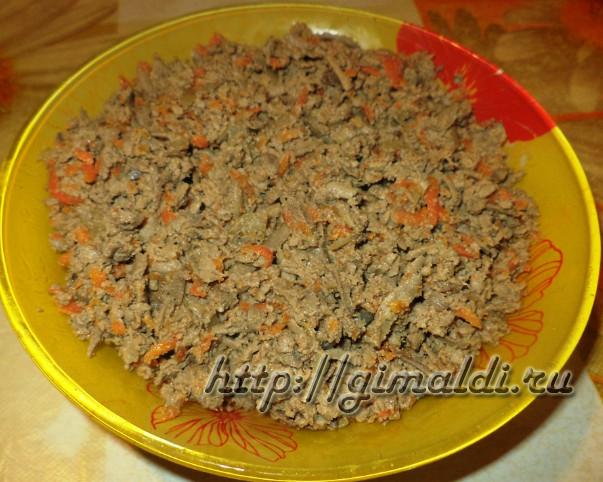 печеночный салат с морковью и луком фото