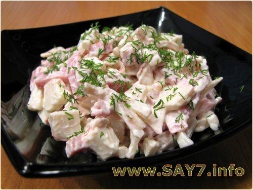 Приготовление салата с кальмарами фото