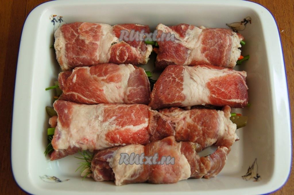 свиные рулетики с начинкой рецепт с фото в духовке