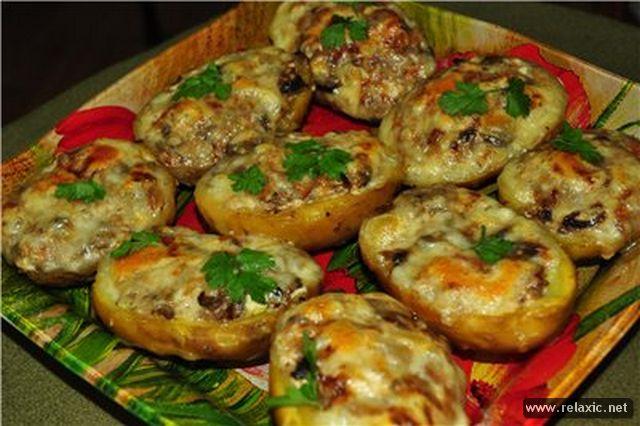 рецепты картошка фаршированная в духовке рецепты с фото