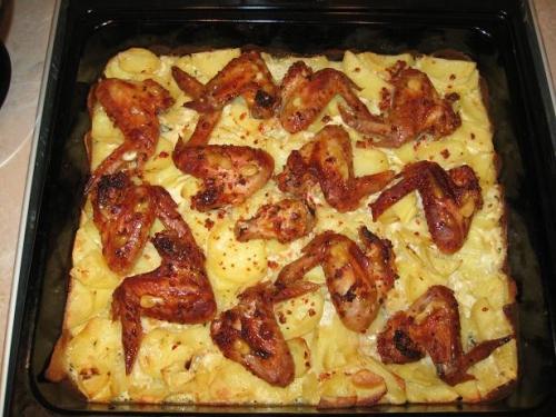 Рецепт куриных крылышек с овощами в духовке