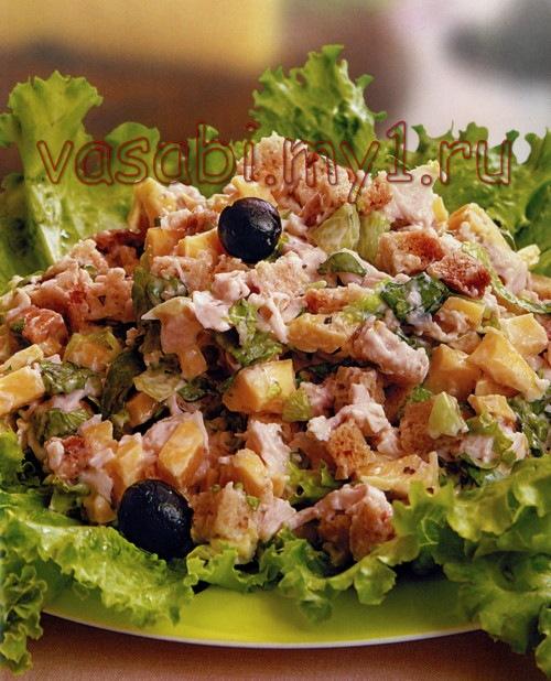 рецепт салата цезарь с курицей и сухариками с пекинской капустой пошагово