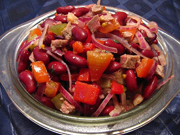 Салат с консервированной красной фасолью рецепт с очень вкусный с