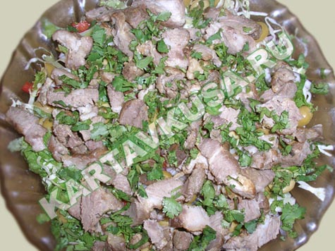 Салат со свинины грибов рецепт фото