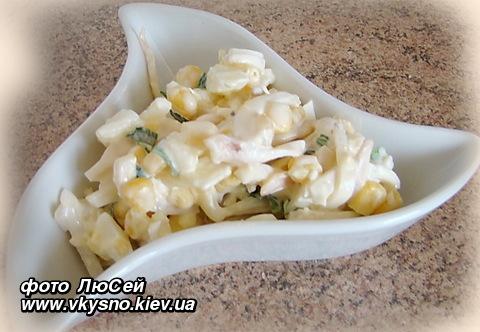 Салат с кальмарами консервированными рецепт